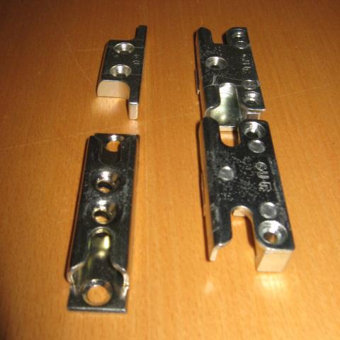 verschiedene Schliesstücke für Holz und Kunststoff mit variierender Nutlage und Werkstoff