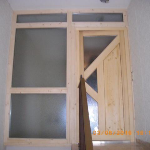 Pfosten-Riegel-Konstruktion, als Wohnungsabschluss im MFH