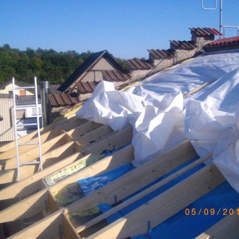 Pultdach über Bestandsgebäude mit unregelmäßigem Grundriß
