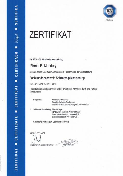 TÜV-Zertifikat für  Sachkunde Schimmelbekämpfung