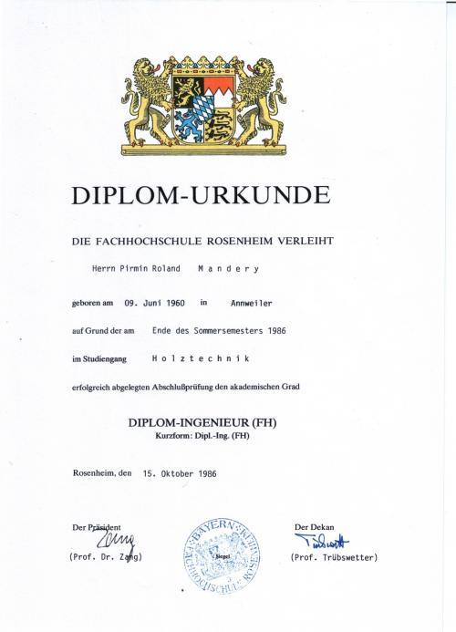 Diplon für Holztechnik (FH Ro)